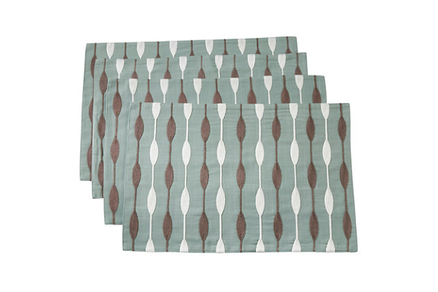 Saro Lifestyle Embroidered Design Placemat (Set of 4), Green, large