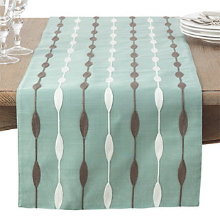 Saro Lifestyle Modern Embroidered Design Table Runner, Green, large