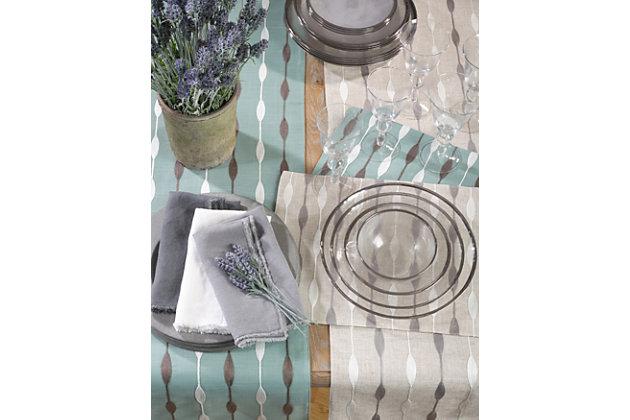 Saro Lifestyle Modern Embroidered Design Table Runner, Beige, large