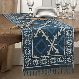 Saro Lifestyle Cotton Rug Runner with Distressed Design, , rollover