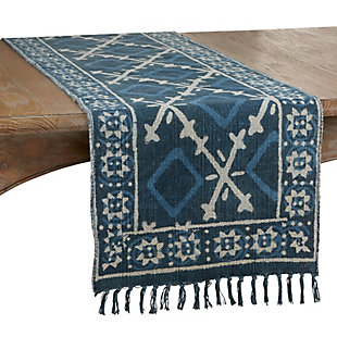 Saro Lifestyle Cotton Rug Runner with Distressed Design, , large