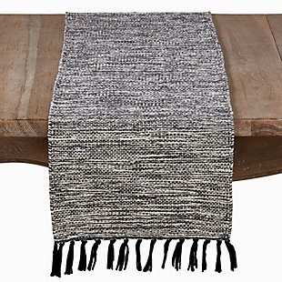 Saro Lifestyle Black Cotton Table Runner with Tassels, , large