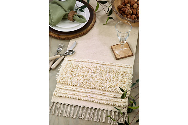Saro Lifestyle Cotton Table Runner with Knot Appliqué Design, , large