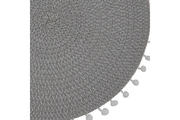 Saro Lifestyle Pom Pom Design Placemat (Set of 4), Gray, large