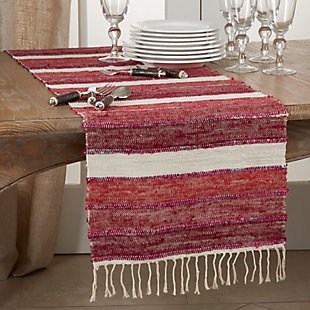 Saro Lifestyle 16x72 Table Runner with Wide Stripe Design, , rollover