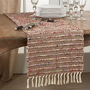 Saro Lifestyle 16x72 Cotton Table Runner with Corded Design, , rollover