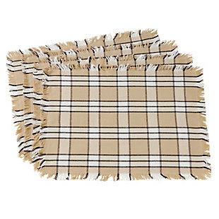 Saro Lifestyle Plaid & Fringe Trimmed Cotton Table Placemat (Set of 4), , large