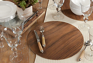 Saro Lifestyle Round Placemat with Wooden Print (Set of 4), , rollover