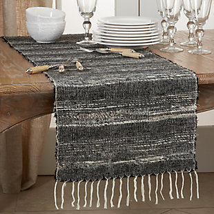 Saro Lifestyle Cotton 16x72 Table Runner with Stripes, , rollover