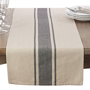 Saro Lifestyle Banded Design Table Runner, Beige/Gray, rollover