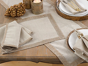 Saro Lifestyle Studded Linen Blend Dining Napkin (Set of 4), Beige/Gold, rollover