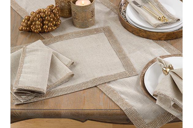 Saro Lifestyle Studded Linen Blend Dining Napkin (Set of 4), Beige/Gold, large