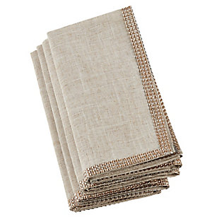 Saro Lifestyle Studded Linen Blend Dining Napkin (Set of 4), Beige/Gold, large