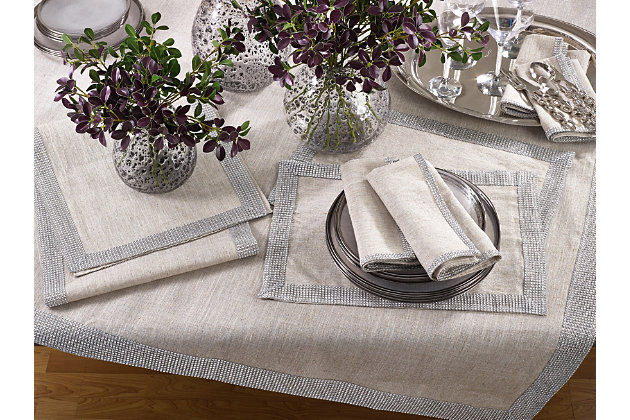 Saro Lifestyle Jeweled Studded Border Napkin (Set of 4), Beige/Silver, large