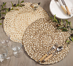 Saro Lifestyle Jute Placemat with Woven Design (Set of 4), Brown, rollover