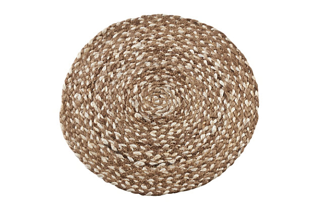 Saro Lifestyle Jute Placemat with Woven Design (Set of 4), Brown, large
