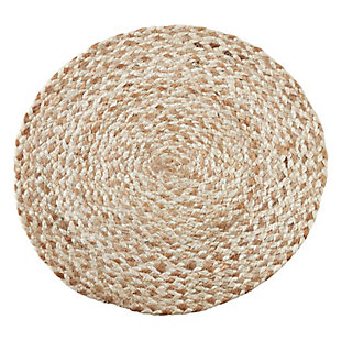 Saro Lifestyle Jute Placemat with Woven Design (Set of 4), Beige, large