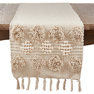 Saro Lifestyle Cotton 16x72 Runner with Pom Pom Moroccan Design, , large