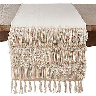 Saro Lifestyle Cotton 16x72 Table Runner with Sequin Moroccan Design, , large