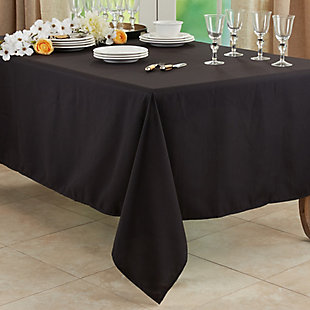 "Saro Lifestyle Everyday Design Solid Color 60"" Square Tablecloth, Black, rollover"