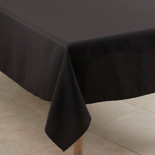 "Saro Lifestyle Everyday Design Solid Color 60"" Square Tablecloth, Black, large"