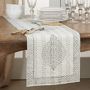 Saro Lifestyle Taj Kantha Stitch 14x72 Table Runner with Block Print, , rollover