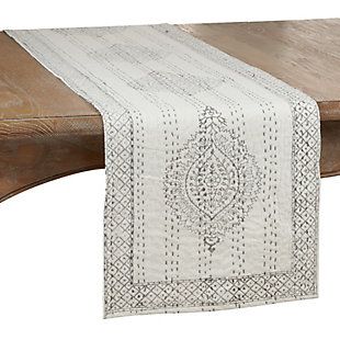 Saro Lifestyle Taj Kantha Stitch 14x72 Table Runner with Block Print, , large