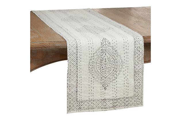 Saro Lifestyle Taj Kantha Stitch 14x72 Table Runner with Block Print, , large