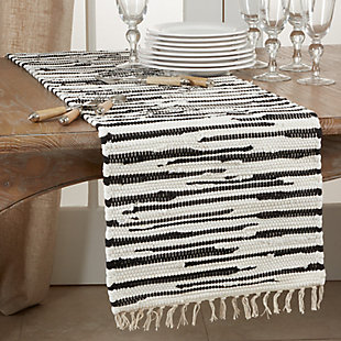 Saro Lifestyle Cotton16x72 Table Runner with Zebra Chindi Design, , rollover