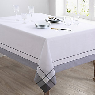 Saro Lifestyle Casual 54x72 Tablecloth with Banded Border Design, Gray, rollover