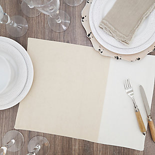 Saro Lifestyle Placemat with Two-Tone Design (Set of 4), , rollover