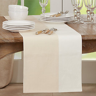 Saro Lifestyle 16x72 Table Runner with Two-Tone Design, , rollover