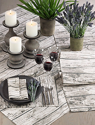 Saro Lifestyle Table Runner with Printed Wood Design, Brown, rollover