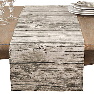 Saro Lifestyle Table Runner with Printed Wood Design, Brown, large
