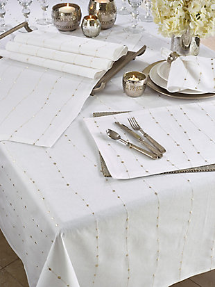 Saro Lifestyle Modern 65x104 Tablecloth with Embroidered Design, White, rollover