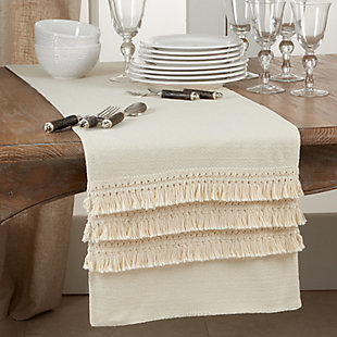 Saro Lifestyle Long Table Runner with Fringe Lace Applique, , rollover