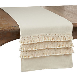 Saro Lifestyle Long Table Runner with Fringe Lace Applique, , large