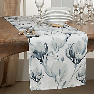 Saro Lifestyle Watercolor Floral Design Table Runner, , rollover