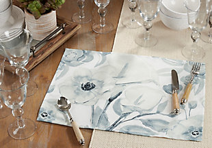 Saro Lifestyle Watercolor Design Large Floral Placemat (Set of 4), , rollover