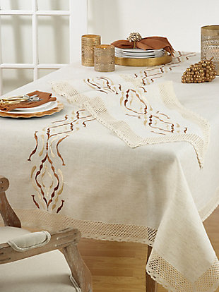 Saro Lifestyle Laced Table Runner In Poly And Linen Blend, , rollover