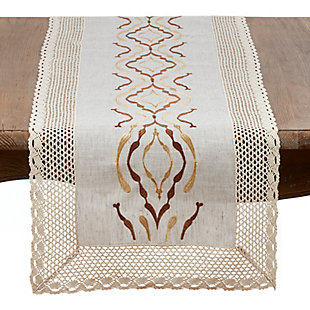 Saro Lifestyle Laced Table Runner In Poly And Linen Blend, , large