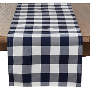 Saro Lifestyle Buffalo Plaid Cotton Blend 16x72 Table Runner, , large