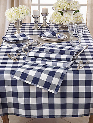 Saro Lifestyle Buffalo Plaid Design Cotton Blend 70x104 Tablecloth, Blue, rollover