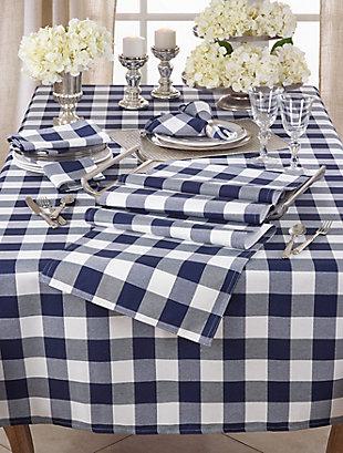 Saro Lifestyle Buffalo Plaid Design Cotton Blend 70x104 Tablecloth, Blue, rollover