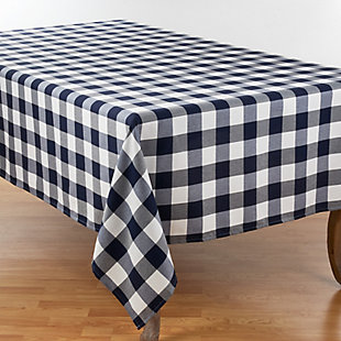 Saro Lifestyle Buffalo Plaid Design Cotton Blend 70x104 Tablecloth, Blue, large