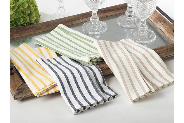 Saro Lifestyle Cotton Napkin with Cheerful Striped Design (Set of 4), Blue, large