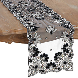 Saro Lifestyle 16x72 Table Runner with Hand Beaded Design, Black, large