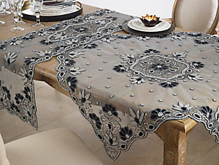 "Saro Lifestyle Hand Beaded Design Shimmering 40"" Tablecloth, Black, rollover"