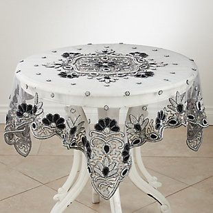 """Saro Lifestyle Hand Beaded Design Shimmering 40"""" Tablecloth, Black, large"""