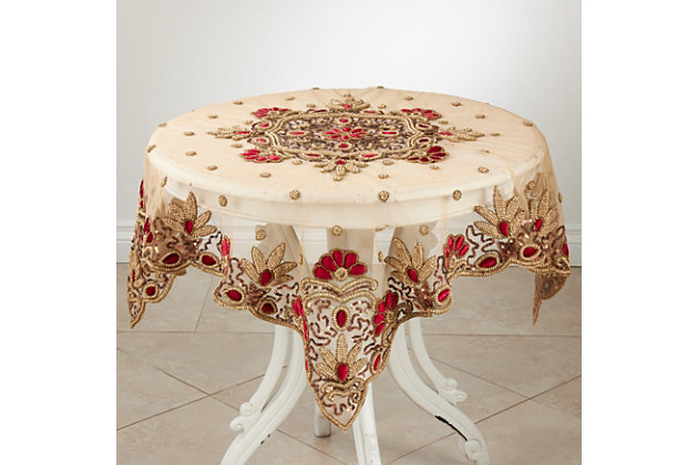 Saro Lifestyle Hand Beaded Design Shimmering Tablecloth, Red, large
